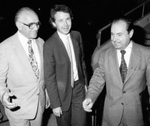 1985 - Being met at Bucharest Airport, Romania, by Dr.Nico Bujor - successful campaign to free Fr.Georgie Calciu from Ceaucescu's jails