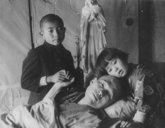 Takashi Nagai and his children