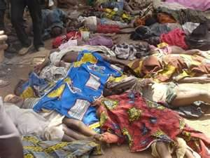 Left for dead Nigerians outside a Catholic Church - murdered by Boko Haram