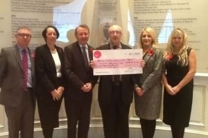 Funds handed over to RESTORE. David Alton with former Lord Mayor, Frank Doran