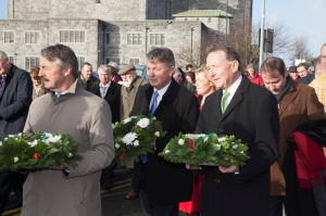 Walking from the Cathedral to the wreath laying with Seán Ó CuirreáinAn Coimisinéir Teanga [Irish Language Commissioner]