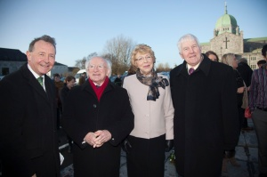 With the Irish President, his wife, and Johnny Joyce, a descendant of the murdered family.