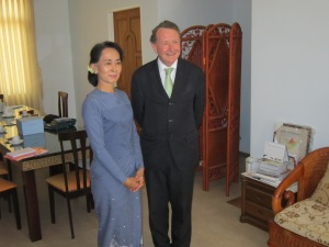 Daw Aung San Suu Kyi at her home in Naypyidaw