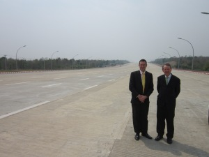 With ben Rogers of CSW on the Highway to way to nowhere..Naypyidaw...Burma's surreal new capital