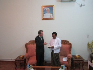 Meeting with Dr.Myo Myint one of Burma's education ministers.
