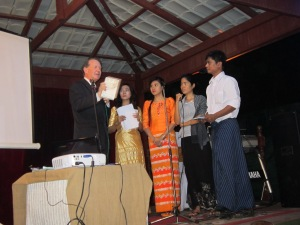 Speaking at the NLD meeting at the House of Memories in Rangoon