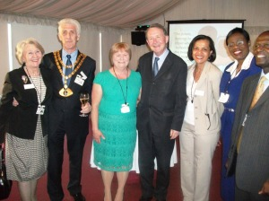 Cllr.and Mrs.Herbert Chapman, the Mayor 0f Dacorum at the MOTEC reception at which the NUWLIFE project was unveiled