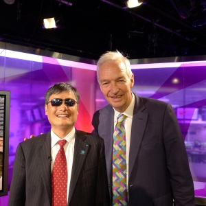 Chen was interviewed on national TV and radio - pictured here with Jon Snow of Channel Four news.
