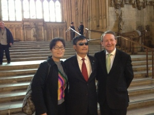 Cheng Guangcheng and his wife in Parliament's Westminster Hall