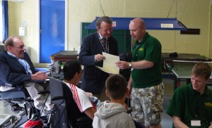 Sir Bert Massie CBE and David Alton with some of the Heswall Holiday Camp Volunteers, 2013
