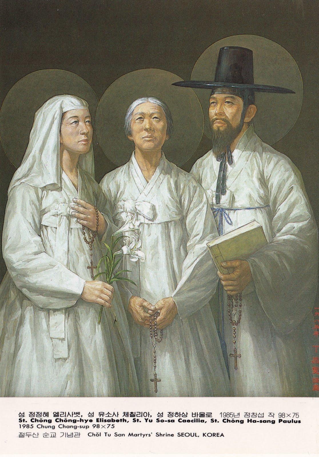 De hellige Elisabeth Jeong Jeong-hye, Cecilia Yu So-sa og Paulus Jeong Ha-sang –to søsken og deres mor