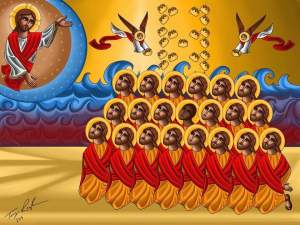 Icon of the 21 Coptic Christians beheaded in Libya in February 2015