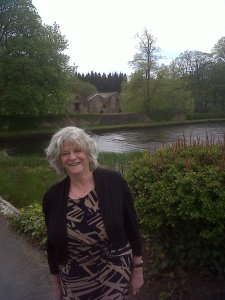 Project Patron, Rt.Hon. Ann Widdecombe with the old Mill Building (where the Visitors' Centre will be located)  in the background