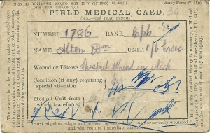 1917 Field medical card for William Alton - shrapnel wounds