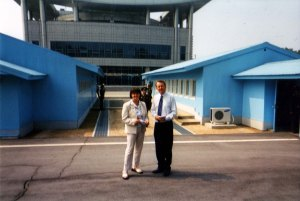 With Baroness (Caroline) Cox at the North Korean border post of Panmunjom inside North Korea