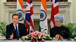 David Cameron with Manmohan Singh
