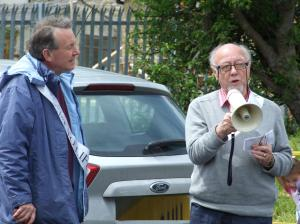 David Alton and Jim Dobbin MP at the commencement of the RTL charity walk across Ribble Valley, 2014.
