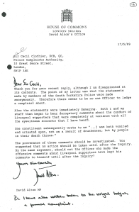Letter to Sir Cecil Clothier, Chairman of the Police Complaints Authority, on May 17th 1989, contesting the Authority's failure to mount an investigation