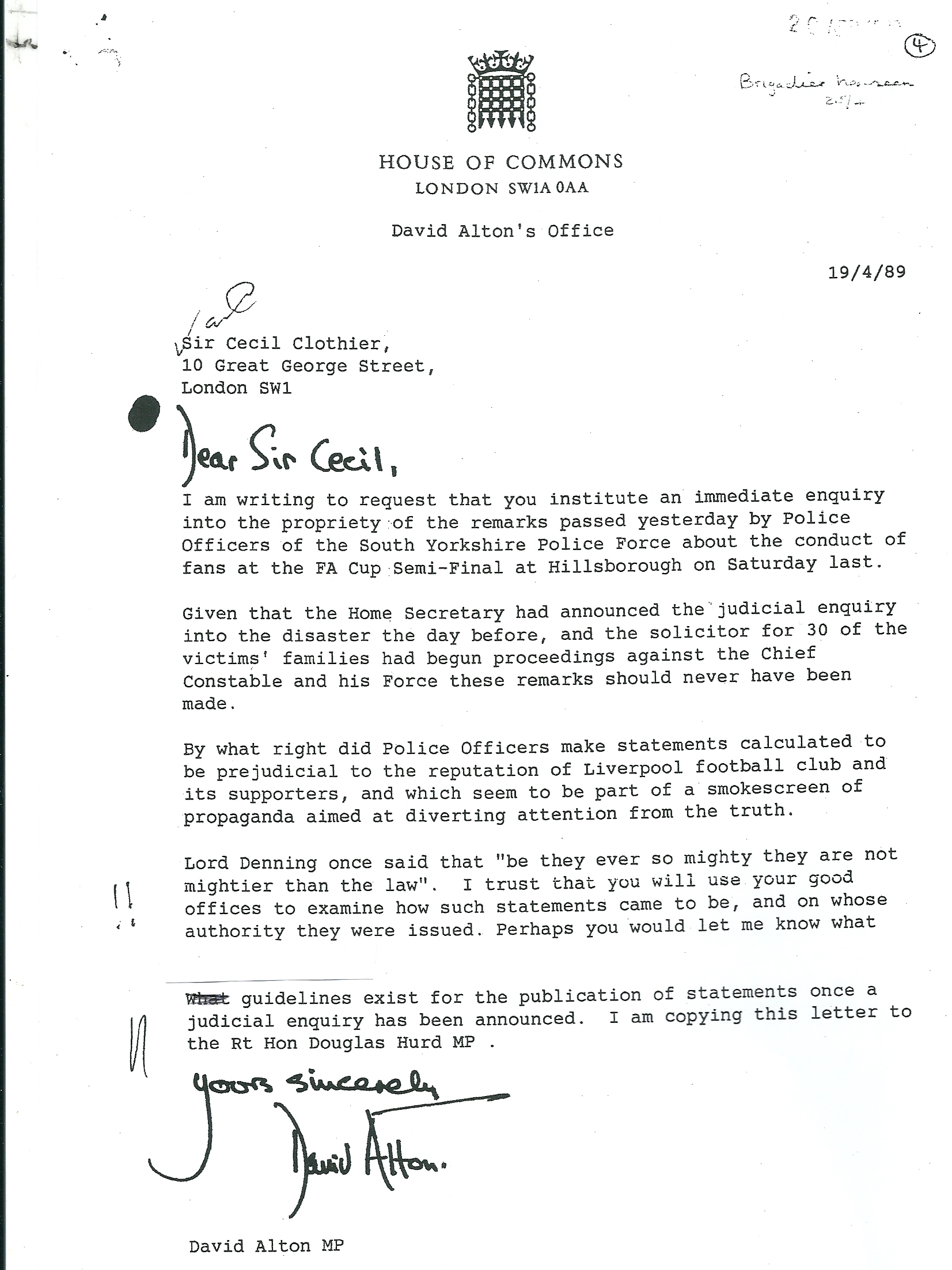 police complaints authority net letter to sir cecil clothier chairman of the police complaints authority four days after