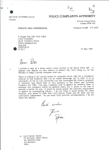 "Letter from the Chairman of the Police Complaints Authority to the Chief Constable of South Yorkshire saying he had done his best to ""deflect"" the complaint. Sir Cecil signs the letter  ""Spike"" - perhaps appropriately as it's a word used by journalists when an editors has decided to withhold a story from publication."