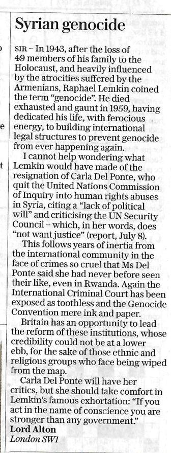 Daily Telegraph Letter August 11th 2017