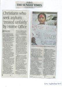 The Sunday Times - on the way in which the British home Office Treats Pakistani Christians