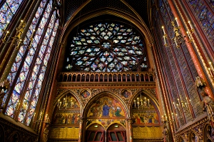 The interior of Sainte Chapelle, Paris.