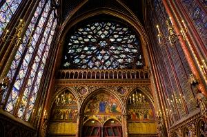 The interior of Sainte Chapelle, Paris.
