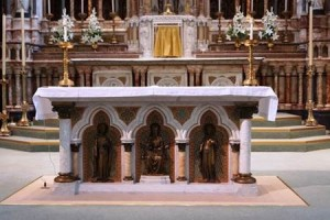 The Parisian altar of King St.Louis and his mother St.Blanche, at Stonyhurst's church of St.Peter.