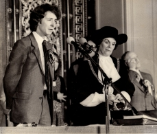1979 - By-Election Acceptance Speech at St.George's Hall with Returning Officer, The Lord Mayor, Cllr.Ruth Dean 1