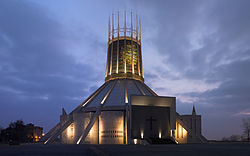 Liverpool Metropolitan Cathedral at dusk