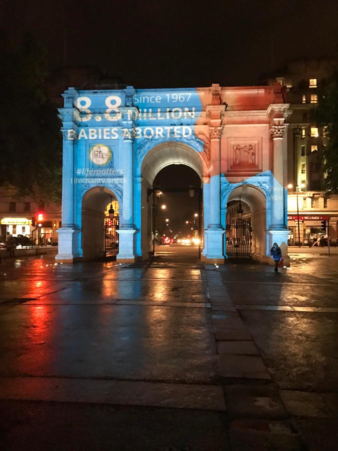 Photograph of Projection on to Marble Arch