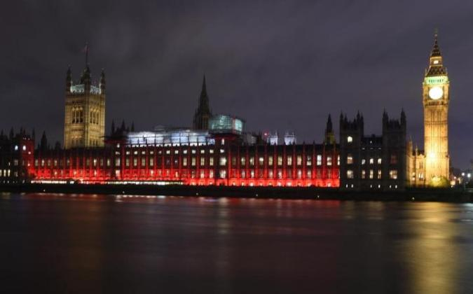 houses of parliament on red wednesday
