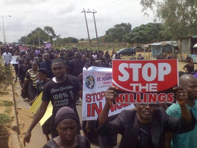 Nigeria, May 22th 2018 Christians demonstrating peaceful against the bloodshed in Nigeria - after the murder of Two Priests and their Parishioners During the celebration of the Holy Mass, in Mbalom, Benue State on 24.04.2018