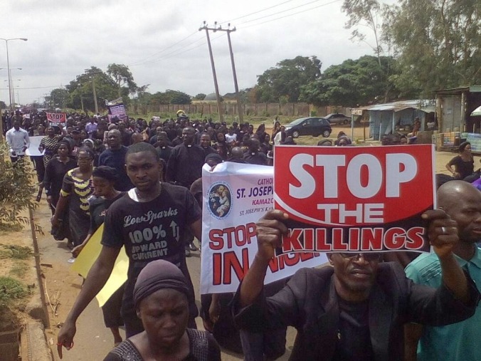 Nigeria, May 22th 2018Christians demonstrating peaceful against