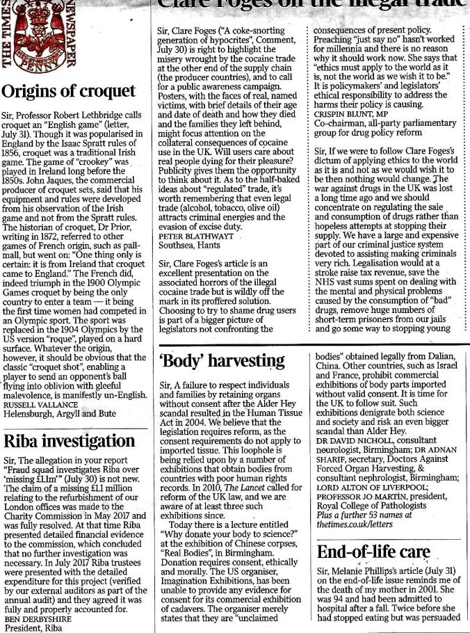 2018 August 2nd Body Harvesting letter to The Times