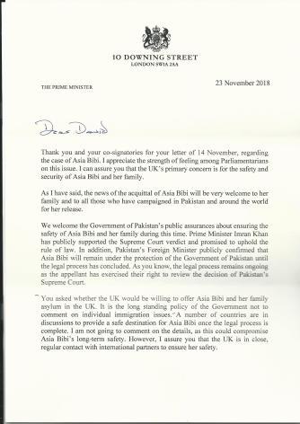 Asia Bibi Prime Minister's Reply1