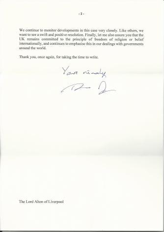 Asia Bibi Prime Minister's Reply2