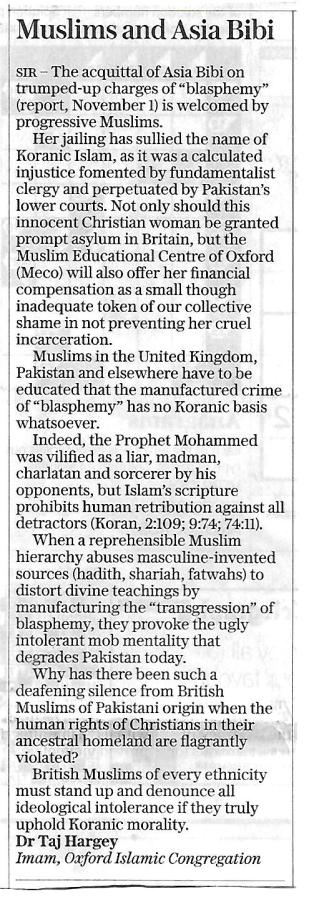 Dr.Taj Hargey, Imam, Oxford Islamic Congregation, Letter to the Telegraph