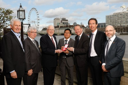 (l-r): Peter Freeman, trustee UK Holocaust Memorial Foundation, Steven Noah, Amb. Quinn, Sophal Din, Lord Alton, Sir Trevor Pears (founding patron of Aegis), and Dr James Smith