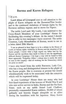 1998 House of Lords debate on Burma and the Karen Refugee camps following a visit there (2)