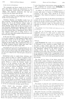 1998 House of Lords debate on Burma and the Karen Refugee camps following a visit there (4)