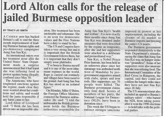 2003 - call for release of Burma's Aung San Suu Kyi