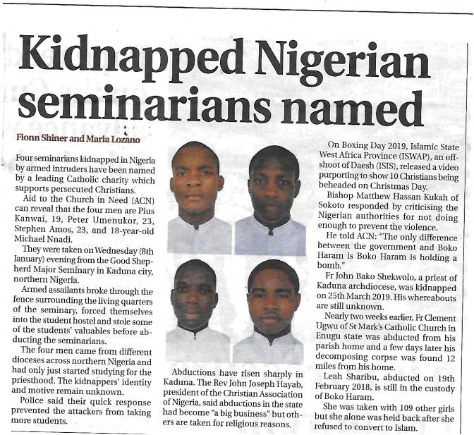 Abducted Nigerian Seminarians