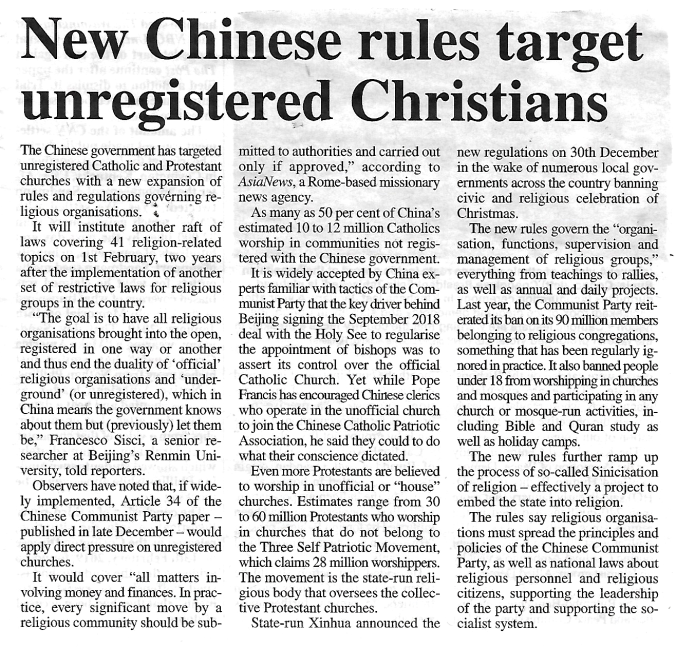Unregistered Chinese Christians