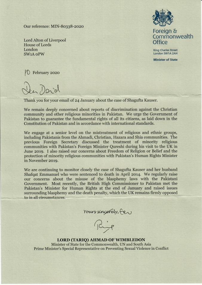 Shagufta Kauser Ministerial Reply