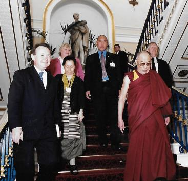 2004 with HH the Dalai Lama at Liverpool Town Hall